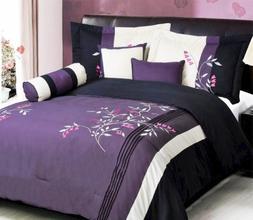 Grand Linen 7 Piece Modern Oversize Purple/White/Pink/Black