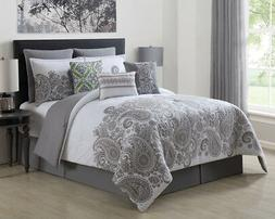 9 Piece Mona Gray/White 100% Cotton Comforter Set Queen