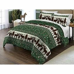 Moose Fairisle Twin Comforter Set, Green Home &amp Kitchen