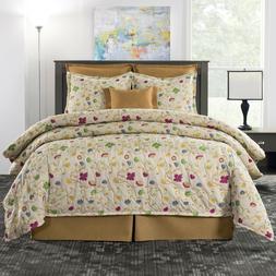 Multi-Color Floral & Vine Comforter Set w Skirt & Shams Tara