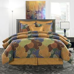 Multi-Color Jewel Tone Abstract Comforter Bedding Set Paintb
