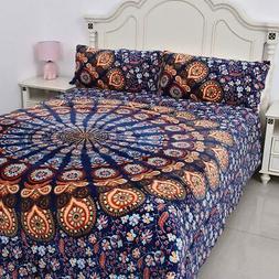 Multi Color Printed Pattern Flannel-Sherpa Comforter Set of