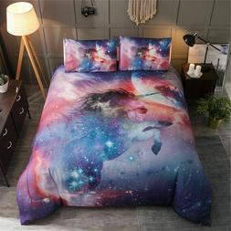 Multi-color Unicorn Galaxy Comforter Sets Animal Print Quilt