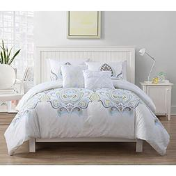 4 Piece Multi White Medallion Bohemian Damask Comforter Twin