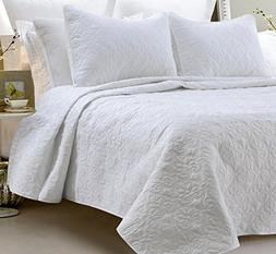 Oversized - 3 Piece 100% Cotton Quilted Coverlet Set - White