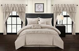 Chic Home Mykonos 20 Piece Comforter Set, King, Taupe