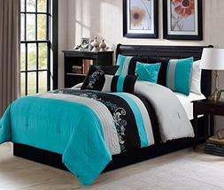 7pc Luxury Floral Leaves Scroll Embroidery Teal Gray Black C