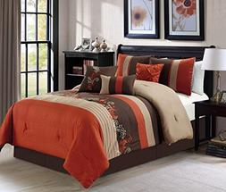 Chezmoi Collection Napa by 7-piece Luxury Leaves Scroll Embr