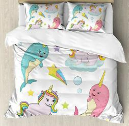 Narwhal Duvet Cover Set with Pillow Shams Colorful Rainbow A