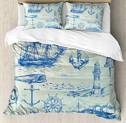 Ambesonne Nautical Anchor Duvet Cover Set Queen Size, Whale