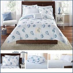 Nautical Comforter Set Queen King Size Sea Shell Coastal Bea