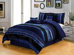 5 Piece Navy Blue / Black Silver stripe Chenille Comforter s