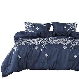 Wake In Cloud - Navy Blue Comforter Set, Gray Floral and Tre