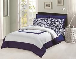 Comforter & Sheets set 8 pcs Soft Microfiber Navy Blue and W