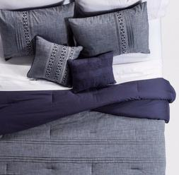 Navy Ford Geo Embroidered Chambray Cotton Comforter Set Full