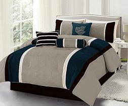Legacy Decor 7 Pc Navy, Brown and Taupe Striped Queen Size C