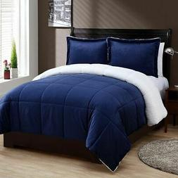 NEW Micromink and Sherpa 3-Piece Reversible Comforter Set -