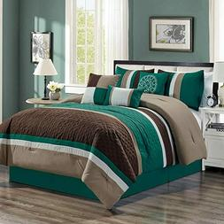 New  7-piece Luxury Leaves Scroll Embroidery Bedding Comfort