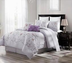 NEW CHIC MODERN EMBROIDERY LIGHT PURPLE FLOWERS BEDROOM LILA