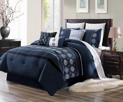 NEW CHIC MODERN EMBROIDERY SILVER GREY PATTERN BEDROOM NAVY