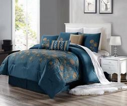 NEW CHIC MODERN EMBROIDERY TAUPE TAN FLOWERS BEDROOM TEAL BL