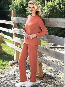 New Haband Comfort Corner 2 Piece Fleece Knit Top & Pant Set