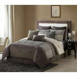 NEW Full Queen Cal King Bed Brown Zebra African Animal Print