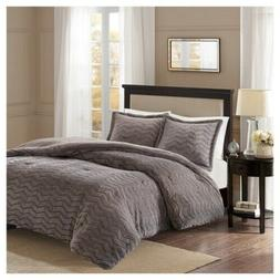 New!! Full/Queen Comforter Set Faux Fur Grey Madison Park BA