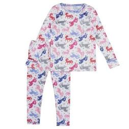 New Cuddl Duds Girls Unicorn Comfort Tech Stretch Poly Top &