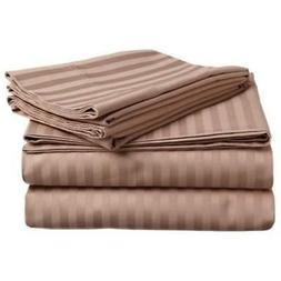 New Hot Comfort Stripe - Taupe - 100% Cotton Sheet Set 4-Pie