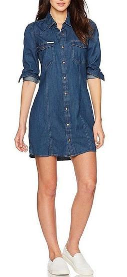 *NEW* Calvin Klein Jeans Women's Long Sleeve Denim Indigo Sh