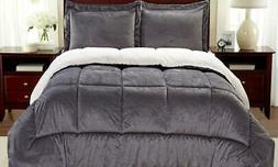 NEW Luxury Home Micromink And Sherpa Reversible Comforter Se