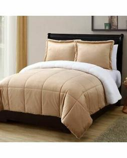 NEW VCNY Home Micro Mink Sherpa 3PC Comforter Set - Camel -
