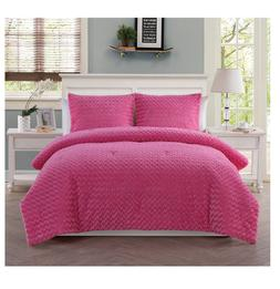 New Pink Rose Fur Twin Size Comforter Set Girl's 2 Piece Bed