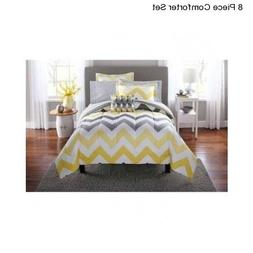 New Yellow Grey King Size Comforter Set Bedding Bedspread Wi