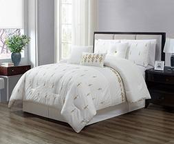 KingLinen 7 Piece Niamh White/Gold Comforter Set Queen