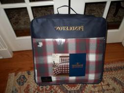 NIP Pendleton Gray/Red/Off White Cotton Plaid Flannel Full/Q