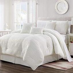 KingLinen 7 Piece Noah White Comforter Set Queen