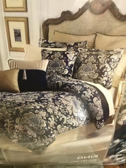 NWT CROSCILL 4 PIECE KING JACQUARD FLORAL IMPERIAL BLUE COMF