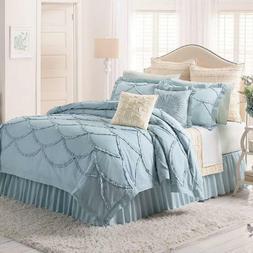 NWT Lauren Conrad LC ISABEL Ruffles Light Blue Comforter Bed