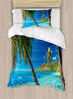 Ambesonne Ocean Duvet Cover Set Twin Size, Image of a Tropic
