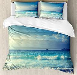 Ambesonne Ocean Duvet Cover Set King Size, Tropical Island P