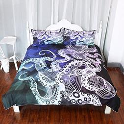Arightex Octopus Duvet Cover Geometric Design 3D Octopus Bed