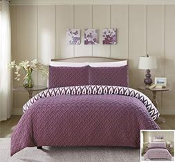 Chic Home 3 Piece Ora Heavy Embossed and Embroidered Quilted