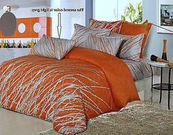 Orange Tree Cotton Bedding Set: Duvet Cover Set or Comforter