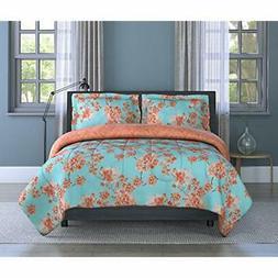 Orange Water Color Garden Comforter Set Full/Queen Multicolo