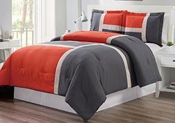 3 piece Orange/Grey/WHITE Goose Down Alternative Color Block