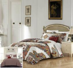 Chic Home Orli 5 Piece Reversible Comforter Set, King, Beige