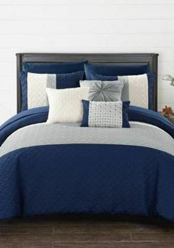 Osnat 10 Piece Comforter Set Color Block Quilted Embroidered