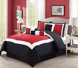 Grand Linen 7 Piece Oversize Burgundy Red/Black/White Color